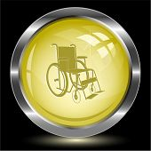 Invalid chair. Internet button. Raster illustration.