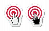 Target with cursor hand vector icon