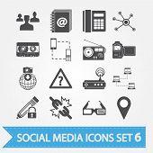 Постер, плакат: Социальные медиа набор иконок 6