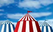 stock photo of tarp  - vector Illustration of a circus tents on cloudy sky - JPG