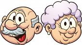 Cartoon grandparents. Vector clip art illustration with simple gradients. Each in a separate layer.