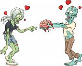 Zombie couple in love. Vector clip art illustration with simple gradients. Each element in a separate layer.