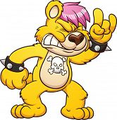 Rocker bear. Vector clip art illustration with simple gradients. All in a single layer.
