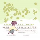 niño sembrando semillas