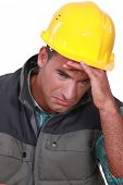 Crying construction worker