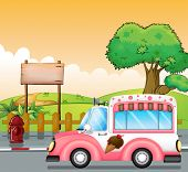picture of ice-cream truck  - Illustration of a pink ice cream bus and an empty board - JPG