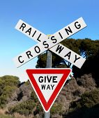 Close Up Railway Crossing Give Way Sign