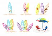 An Illustration Set Of Surfboards With Beach Chairs