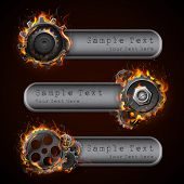 illustration of fire flame in cog wheel with copy space