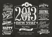 Collection of Christmas and Happy New Year Labels with retro vintage styled design.