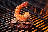 Jumbo Shrimp And Steak On A Grill