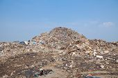stock photo of landfills  - Garbage at a rubbish dump in a landfill site pollution Global warming - JPG