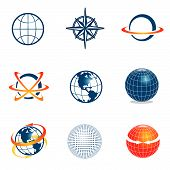 foto of world-globe  - Set of corporate vector logo templates - JPG