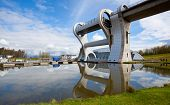 FALKIRK, UNITED KINGDOM - APRIL 11: Falkirk Wheel with blue sky on April 11, 2012 in Falkirk Scotlan