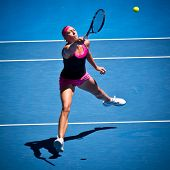 MELBOURNE - JANUARY 19: Yanina Wickmayer of Belgium in her third round loss to Maria Kirilenko of Ru
