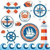 Set of retro-styled sea emblems. EPS 10