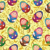 Seamless, dolls and floral pattern