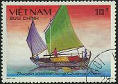 Vietnam - Circa 1988: A Stamp Printed By Vietnam Shows Image Of A Sailing Ship, Series, Circa 1988