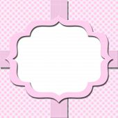 Pink Gingham With Ribbon Background For Your Message Or Invitation