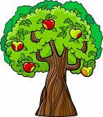 Apple Tree Cartoon Illustration