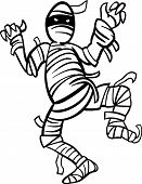 Mummy Cartoon For Coloring Book