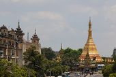 View to Sule pagoda from Sule Paya Road. Yangon. Myanmar.