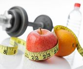 image of healthy food  - eat fruits and exercise for healthy living - JPG