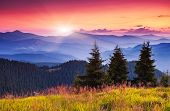 stock photo of wild adventure  - Majestic morning mountain landscape with colorful cloud - JPG