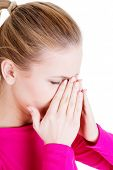 foto of sinuses  - Young woman with sinus pressure pain  - JPG