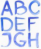 Handwritten Blue Watercolor Abc Alphabet
