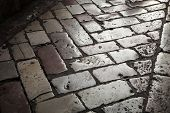Old Shining Stone Pavement On Dark Street
