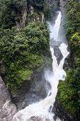 Pailon Del Diablo - Mountain River And Waterfall In The Andes. Ecuador