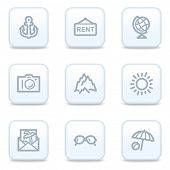 Travel web icons, square buttons
