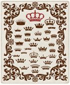Royal crown set with floral motifs and old paper texture. Organized by layers