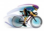 stylized motion cyclist. vector illustration