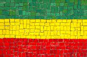 Ethiopian Flag in Mosaic