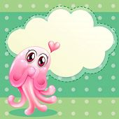 Illustration of a lovable pink monster with an empty cloud template
