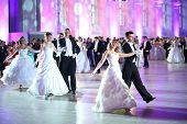 MOSCOW - FEB 22: Beautiful dancing couple on the Kremlin Cadet Ball, on February 22, 2013 in Moscow,
