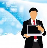 Businessman with laptop. Editable vector