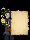 Background Illustration of a Skeleton Wearing a Pirate Costume and Holding a Blank Scroll