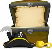Illustration of an Open Treasure Chest with an Empty Scroll Inside and a Pirate Hat and a Hook in Fr