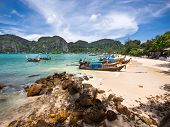 Long-tail Boats on the Shore of Ko Phi Phi Island