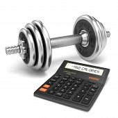 Chrome dumbbell and calculator calories