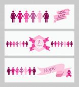 Breast Cancer Awareness Ribbon Web Banners Set.