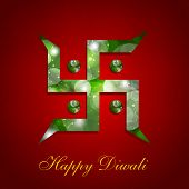 image of swastik  - Indian festival Happy Diwali greeting card with swastik symbol on red background - JPG