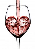 heart shape from red wine