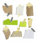 papers post it with shadows on a white background