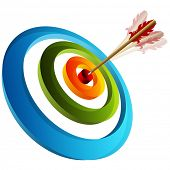 An image of a 3d arrow striking a target.