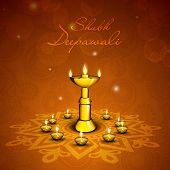 Indian festival Shubh Deepawali (Happy Deepawali) concept with traditional illuminated oil lit lamps on beautiful floral decorated background.
