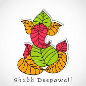 Illustration of Hindu mythology Lord Ganesha made by colorful leafs on grey background for Indian fe